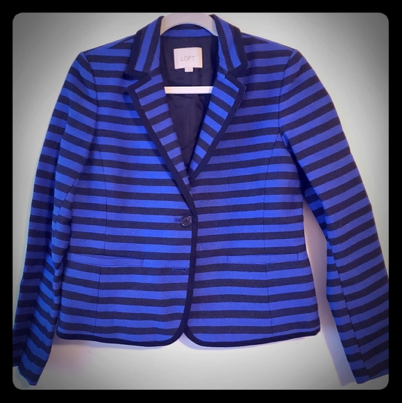 LOFT Jackets & Blazers - Loft blue and black striped blazer